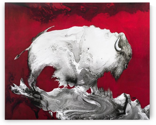 Illustration of a bison against a red background by PacificStock