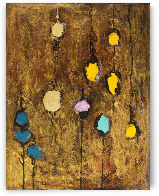 Abstract artwork of colourful circles on a brown grainy background by PacificStock