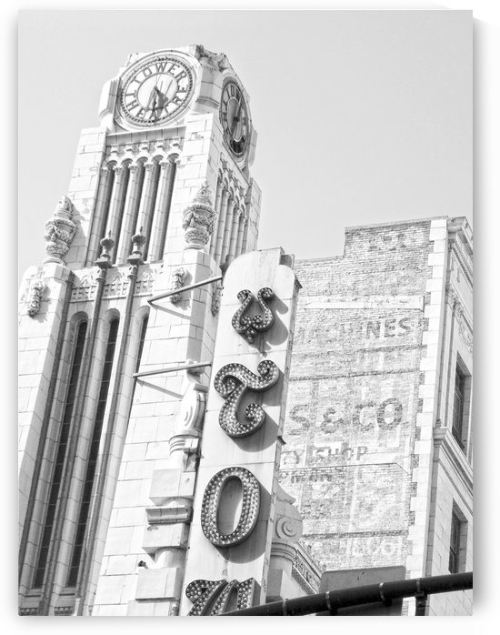 B&W Tower Theatre Clock - DTLA by Hold Still Photography
