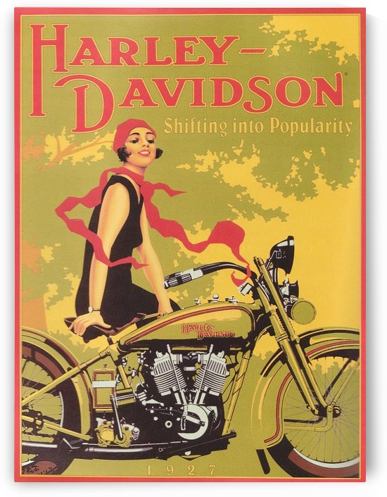 1929 Harley Davidson Shifting into Popularity by VINTAGE POSTER