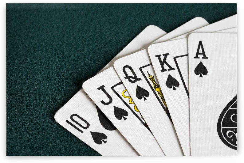 Close-Up Of Blackjack Playing Cards Showing Spades Royal Flush by PacificStock