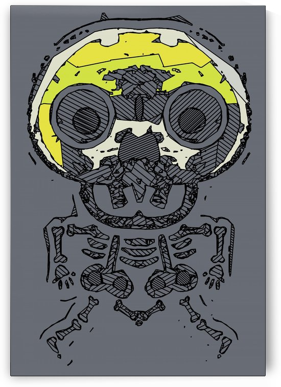 yellow skull and bone graffiti drawing with grey background by TimmyLA