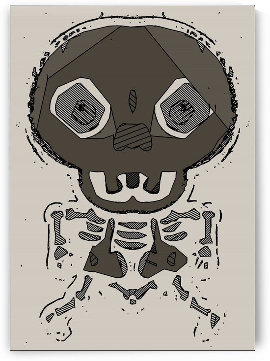 skull head and bone graffiti drawing with brown background by TimmyLA