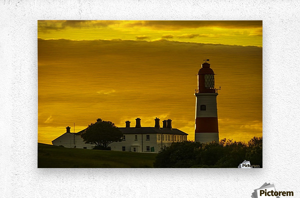 Souter Lighthouse under a glowing golden sky at sunset; South ...
