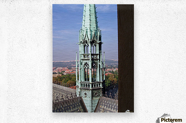 Atop The cathedral in Prague  Metal print
