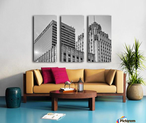 Winston Tower and Reynolds Building BW Split Canvas print