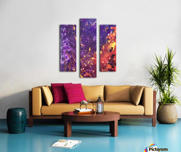 The Flow Purple and Orange Abstract Canvas print