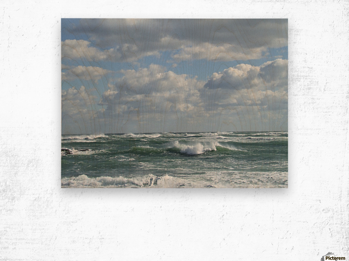Clouds and Big waves  Newport RI.  Wood print